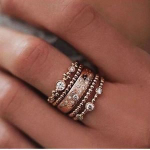 Jewelry - 5Pcs/Set Crystal Rose Gold Stackable Ring
